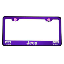 Laser Engraved Jeep Blue Purple Chrome License Plate Frame T304 Stainless Steel
