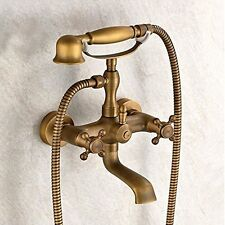 Wall Mount Two Handles Bathtub Faucet with Hand Shower Antique Brass Finish