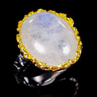 Moonstone Ring Silver 925 Sterling Handmade13ct+ Size 8.25 /R130624