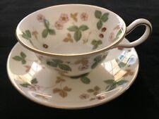 Wedgwood Wild Strawberry Peony Shaped Tea Cup & Saucer Set, English Bone China