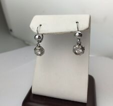 Antique 14K Gold Old Cut Diamonds Drop Dangling French Lock Earring