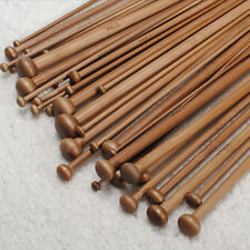 High Quality Set 36pcs Single Pointed Bamboo Knitting Needles Case 2mm - 10mm ^F