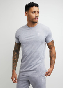 Gym King Mens Grey Marl Origin T-Shirt Designer Embroidered Logo T Shirt Tee Top