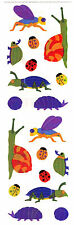 Mrs. Grossman's Stickers - Opal Bugs, Insects - Snail, Ladybug - 3 Strips