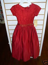 NWT Red Matte Satin/Lace Long Dress Size 4