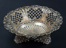 Sterling Silver Berry Bowl with Lattice Basket Weave Design Bowls