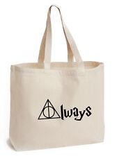 Sempre Cotton Tote Eco Tela Scuola/Picnic LIBRO Regalo Harry Potter fan ART BAG