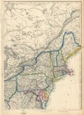 USA NORTH EAST. New England & Mid-Atlantic states. ETTLING 1863 old map