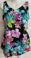 Maxine of Hollywood Plus Size Wide Strap Sarong Swimsuit Multi Black Floral