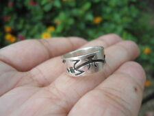 Vintage Sterling Silver - SOUTHWESTERN  Dragon Tribal Overlay Band 4.1g Ring (5)