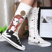 Womens Canvas Sneakers Punk Flat Graffiti Lace Up Knee High Boots Casual Shoes