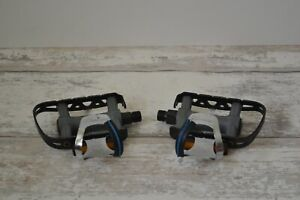 """Vintage Sakae CTP-170 Flat Pedals Pair 9/16"""" with Christophe Mini D Toe Clips"""
