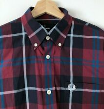 FRED PERRY LONG SLEEVE BURGUNDY & BLUE CHECK BUTTON DOWN SHIRT S mod casuals