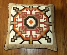 Mid Century Vintage Needlepoint Yarn Pillow Crewel Wool