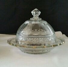 """EAPG Indiana Glass Star Band(Gold) 7"""" Diam Round Butter Dish 6"""" Tall"""