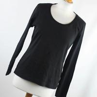 M&Co Womens Size L Black Plain Cotton Basic Tee