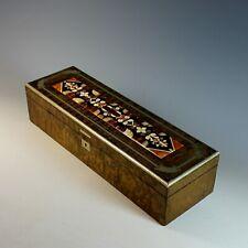 "Antique Pietra Dura Inlaid Floral Wood Dresser Box 13 1/2"""