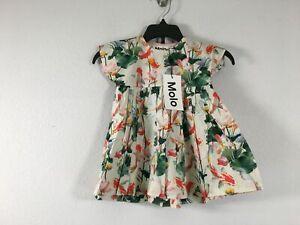 Girl's Molo Channi Lotus Koi Short Sleeve Poplin Dress-Size US12M UK86- Multi