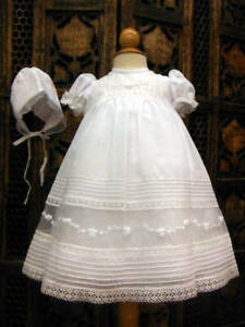 Will'beth NWT Exquisite Infant Newborn Baby Girl Gown Bonnet Set Christening Sz0