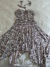 XOXO Brown Print halter Tie Padded Bust Ruched Kneelength Dress NWOT SZ: S