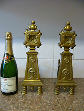 TWO VINTAGE FRENCH, ARTS & CRAFTS LOOK, CAST BRASS ANDIRONS. CAST BRASS FIREDOGS