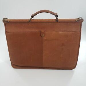 LL BEAN Leather Briefcase Saddle Messenger Bag *Missing Shoulder Strap