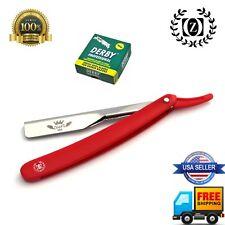 Navaja Shavette Straight Barber Shaving Razor & 100 Derby cuchillas Rojo FREE