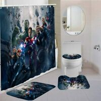 The Avengers 4PCS Bathroom Set Shower Curtain Non-Slip Bath Mat Toilet Lid Cover