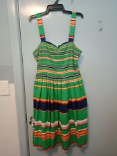 Dangerfield green yellow red and navy stripped dress in size 12