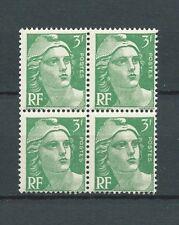 MARIANNE DE GANDON - 1945 YT 716A - bloc de 4 - 3 f. vert -  NEUFS** MNH LUXE