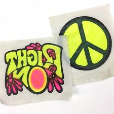 Vintage Day-glow Iron-Ons, RIGHT ON Peace Symbol, Paper Vellum T-shirt Transfer