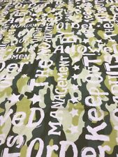 Camouflage khaki green white script craft remnant material fabric piece 130x95cm