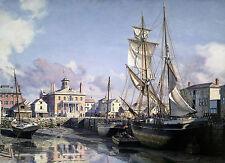 John Stobart Print - Salem: Derby Wharf and the Custom House c. 1825