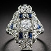 925 Silver Women Jewelry Blue Sapphire Proposal Gift Party Ring Size 6-10