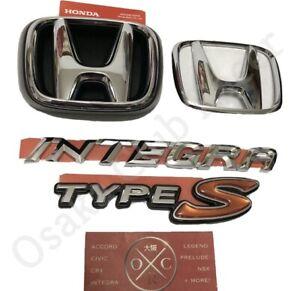 New OEM DC5 Honda Integra Type S Front & Rear Emblem Kit 05-06 Acura RSX-S Badge