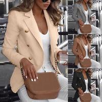 Womens Collar Blazer Suit Thin Jacket Formal Coat Cardigan Office Work Jacket