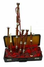More details for great highland bagpipe rosewood silver amounts -scottish bagpipes with hard case