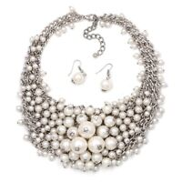 Pearl Statement Necklace ZARA Fashion WITH Matching Earrings, Party Fabulous