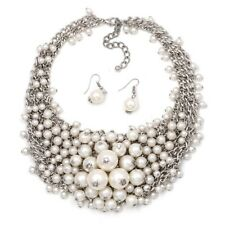 Pearl Statement Necklace EX ZARA Fashion WITH Matching Earrings, Party Fabulous
