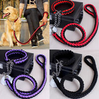 Large Dog Strong Leads Leash Pet Adjustable Braid Traction Rope Chain+Collar2017