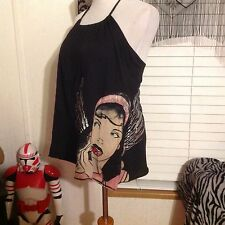 Christian Audigier Crystal Rock 50's angel top VERY RARE Black xsmall halter top