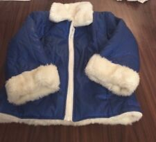 The Children's Place Small 5/6 Blue Puffer Jacket Coat Faux White Fur Lined