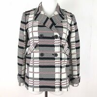 Zara Woman Small Black Red White Checked Double Breasted Blazer Jacket