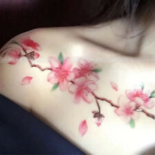 Pink Blossoms Flower Temporary Tattoo Women Hawaiian waterproof  Tattoo Sticker