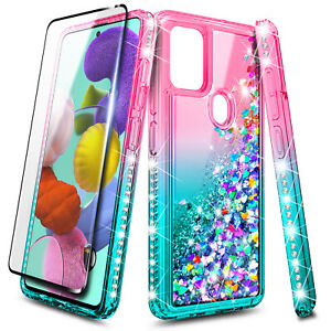 For Samsung Galaxy A21s Case Liquid Glitter Phone Cover + Glass Screen Protector