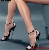 Womens Peep Toe 18cm Super High Heel Shoes Ankle Strap Nightclub Sandals Plus Sz