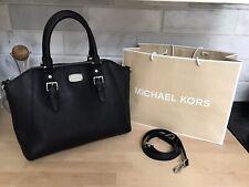 Michael Kors Ciara Large Black Top Zip Saffiano Leather Satchel Tote Crossbody