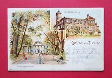 Litho AK TEPLITZ in Böhmen 1904 Schlackenburg und Schlossgartensaal  ( 35913