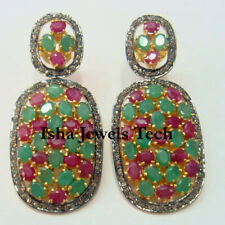 Natural Rose Cut Diamond Ruby Emerald 18k Gold Sterling Silver Earrings Jewelry