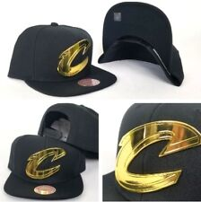 Mitchell & Ness NBA Cleveland Cavaliers Gold Metal Logo Black Snapback Hat Cap